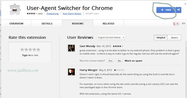 download user agent pada chrome