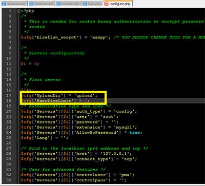 import sql database diphpmyadmin