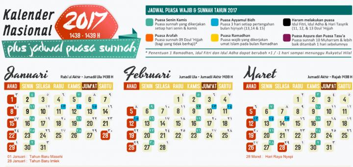 kalender 2017 + jadwal puasa sunnah