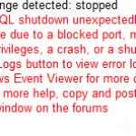 MySQL shutdown unexpectedly